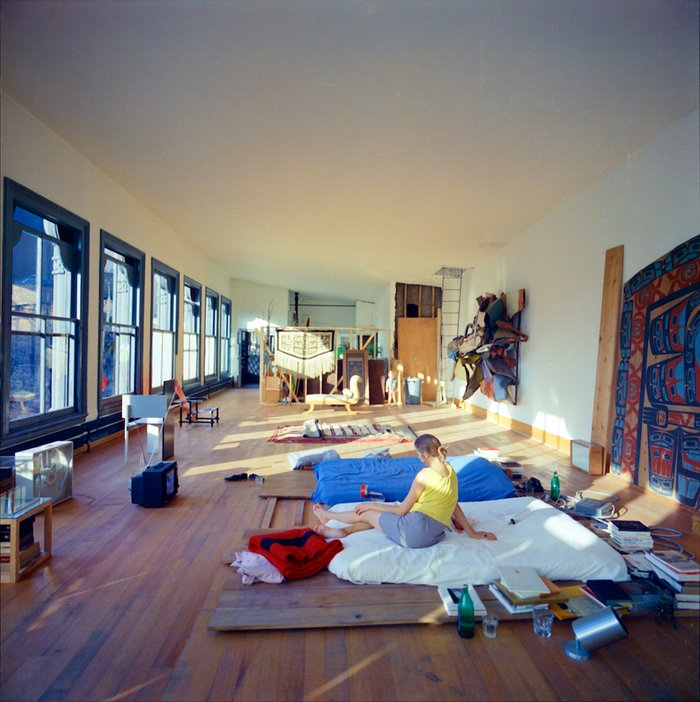 Julie Finch, Flavin Judd and Rainer Judd in the family bedroom on the fifth floor of 101 Spring Street, New York, 1970, photographed by Donald Judd