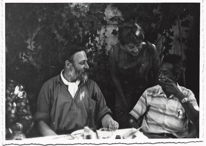 Asger Jorn, Lou Laurin-Lam and Wifredo Lam at Albissola's Pescetto restaurant, c.1963–4
