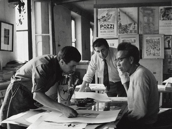 Giancarlo Pozzi, Giorgio Upiglio and Wifredo Lam at the Grafica Uno print studio in Milan, c.1967