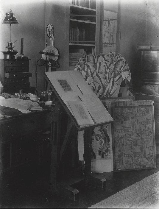 Paul Nash's studio showing textile designs in progress, photographed by Francis Bruguière, c.1935