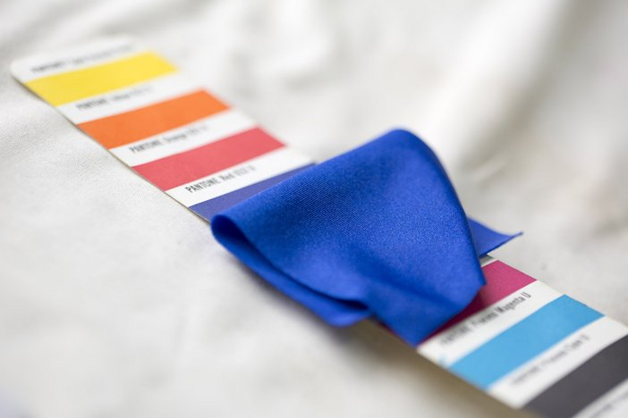 Fabric swatch being matched with Pantone colours for Matisse Live Tate Modern Will Tuckett Royal Opera House dance 2014