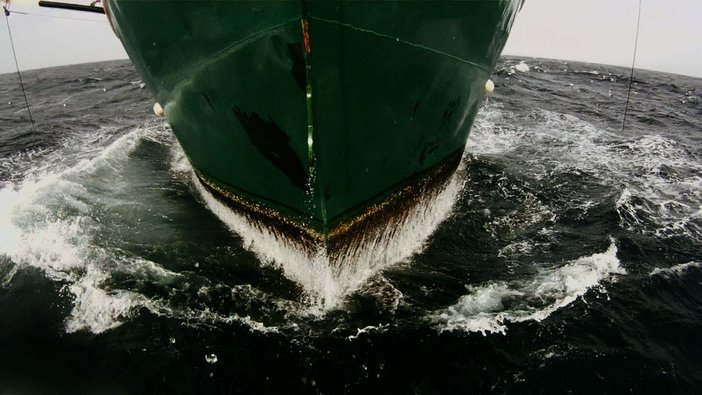 Lucien Castaing-Taylor and Véréna Paravel film still Leviathan 2012 showing a ship's hull in the sea