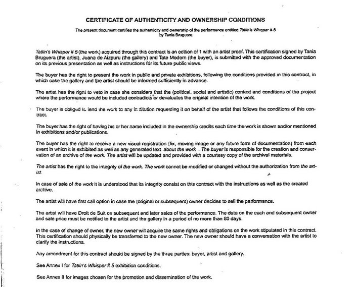 Certificate of Authenticity and Ownership Conditions for Tatlin's Whisper #5 2008 by Tania Bruguera
