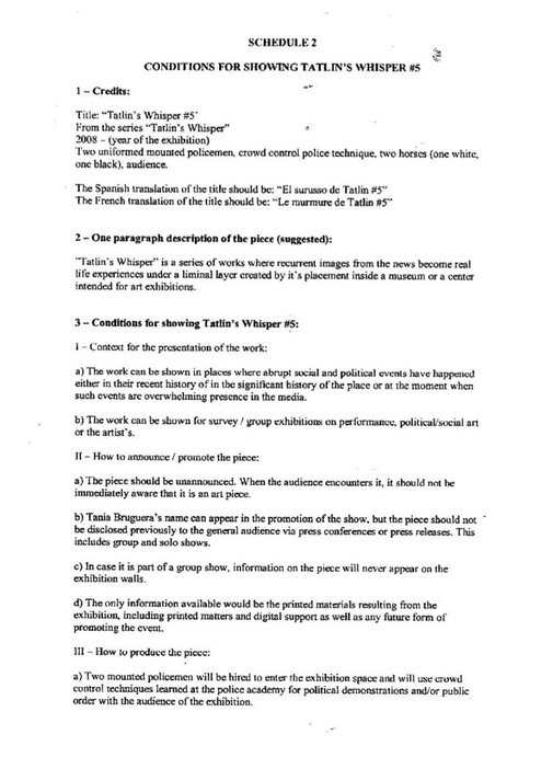 Conditions for Showing Tatlin's Whisper #5 2008 by Tania Bruguera, p.1 of 2