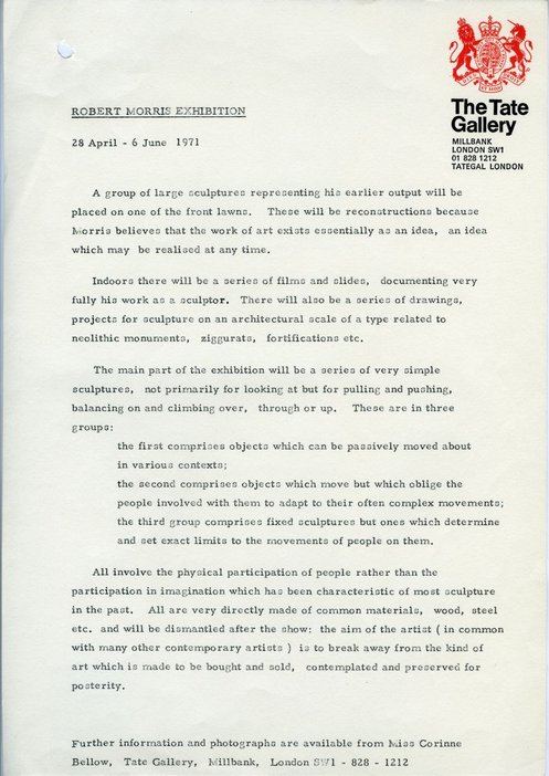 Press release for Robert Morris, Tate Gallery, 1971