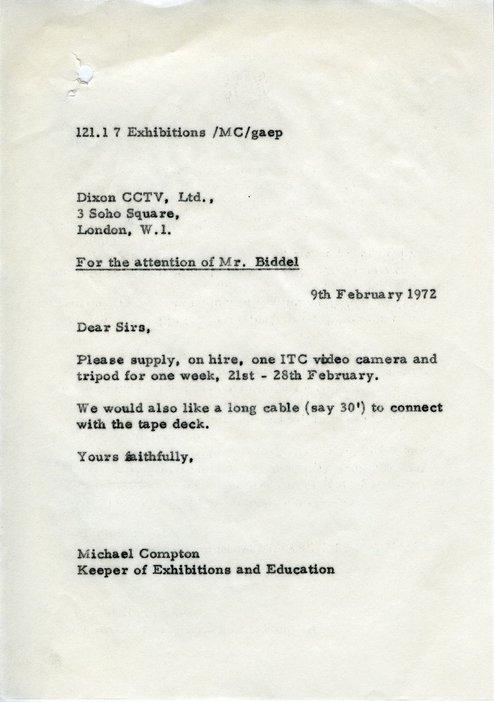 Michael Compton, letter to Dixon CCTV, 9 February 1972