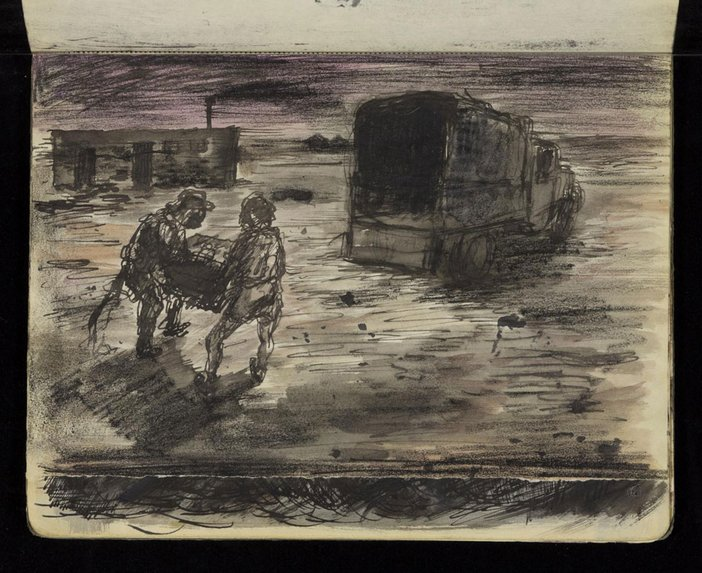 Sketch of two soldiers loading a lorry at night