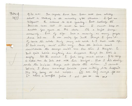 The final entry in Keith Vaughans diary, dated 4 November 1977 handwriting on white note paper