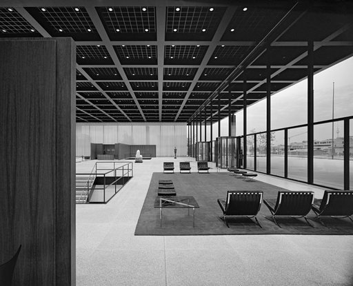 The pavilion entrance area of Mies van der Rohe Neue Nationalgalerie Berlin 1962 interior view of the gallery entrance with lounge and floor to ceiling windows