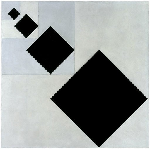 Theo Van doesburg Arithmetic Composition 1929 1930 square canvas with black squares receding in size in a diagnal line from bottom right corner of the canvas to the top left corner of the canvas