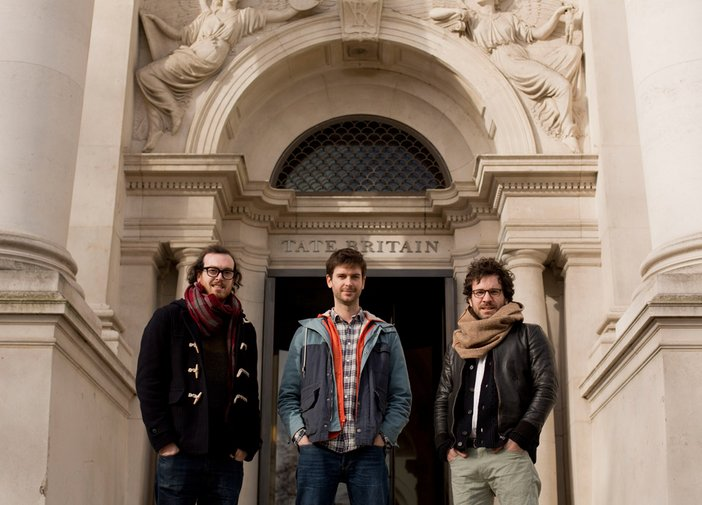 The Workers standing outside Tate Britain. Left to right: David Di Duca, Ross Cairns and Tommaso Lanza