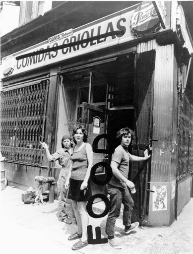 Tina Girouard Carol Goodden and Gordon Matta Clark in front of Food restaurant Prince Street at Wooster Street New York 1971