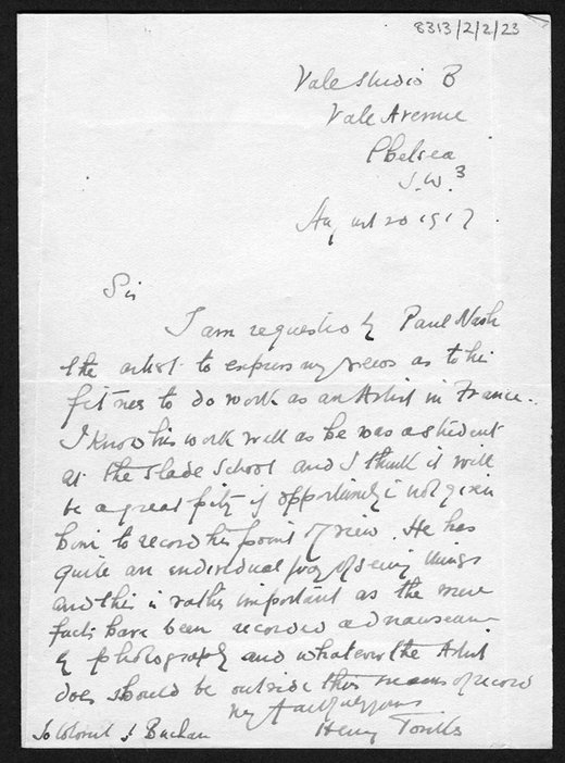Letter from Henry Tonks recommending Paul Nash as a war artist