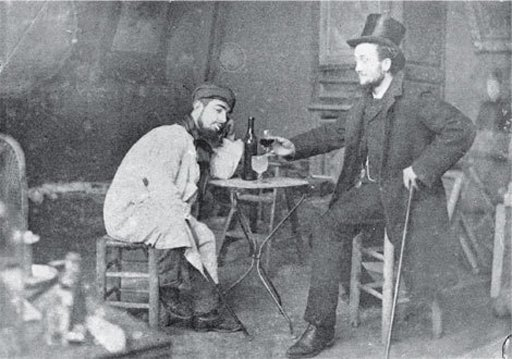 Toulouse Lautrec and Lucien Metivet drinking absinthe circa 1885