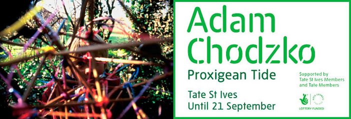 Exhibition banner for Adam Chodzko Proxigean Tide Tate St Ives