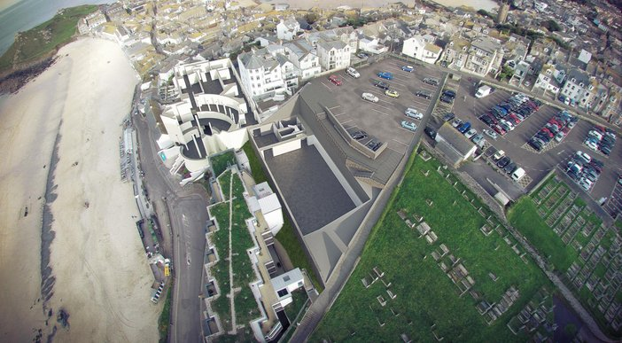 Tate St Ives extension 'roof off' technical drawing