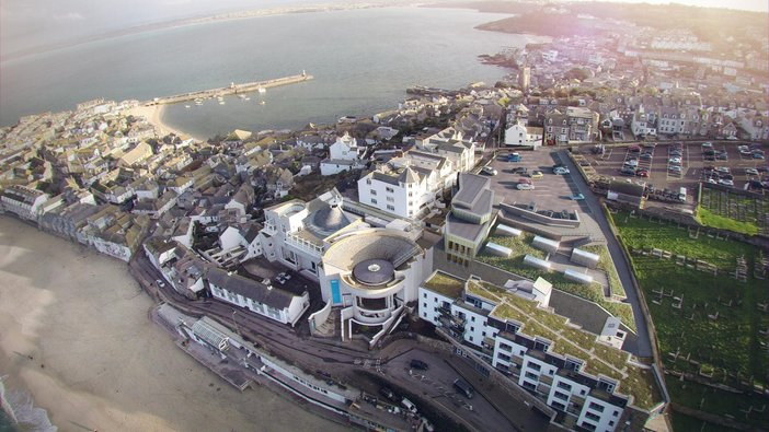 Tate St Ives project – view of the building as seen from above when finished in 2017