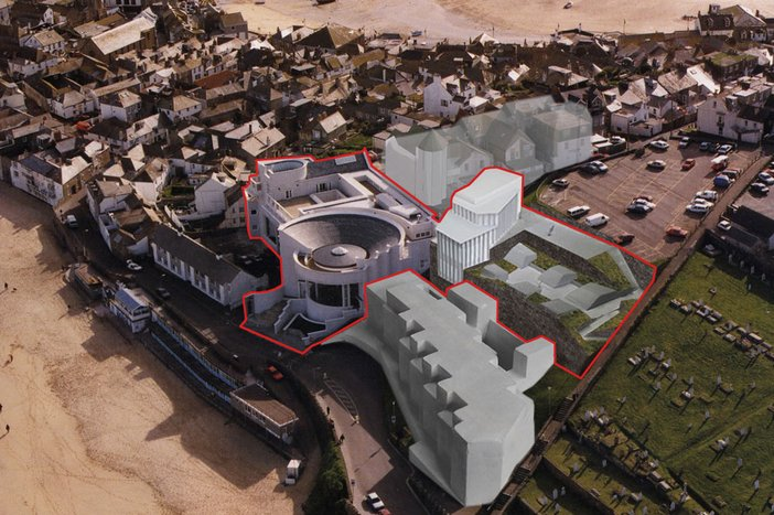Tate St Ives with proposed new extension photomontage