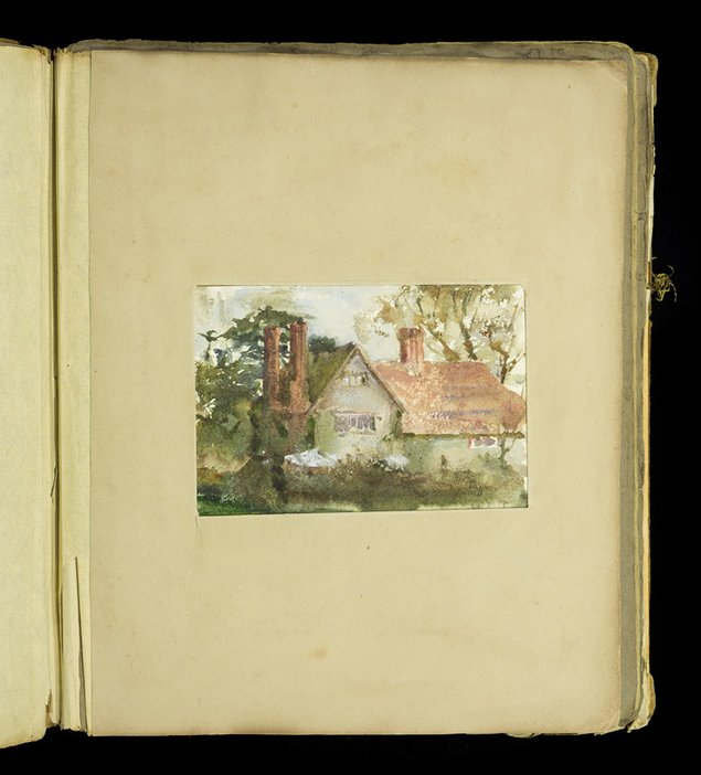 Mounted painting of a house from the scrapbook of Thomas Cooper Gotch and Henry Scott Tuke