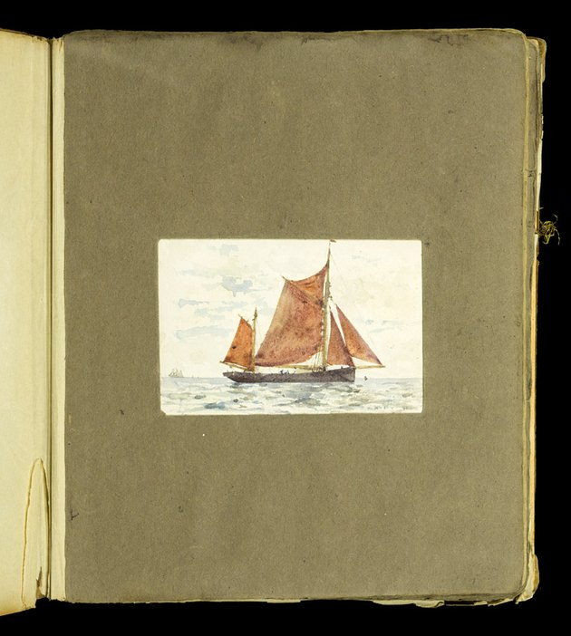 Mounted painting of a sailing boat from the scrapbook of Thomas Cooper Gotch and Henry Scott Tuke