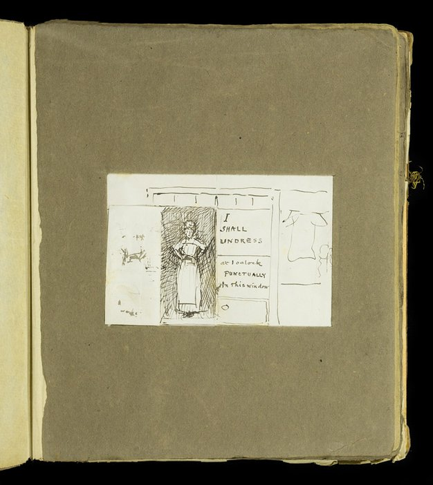 Sketch of a closet with another image of a female figure behind of the doors from the scrapbook of Thomas Cooper Gotch and Henry