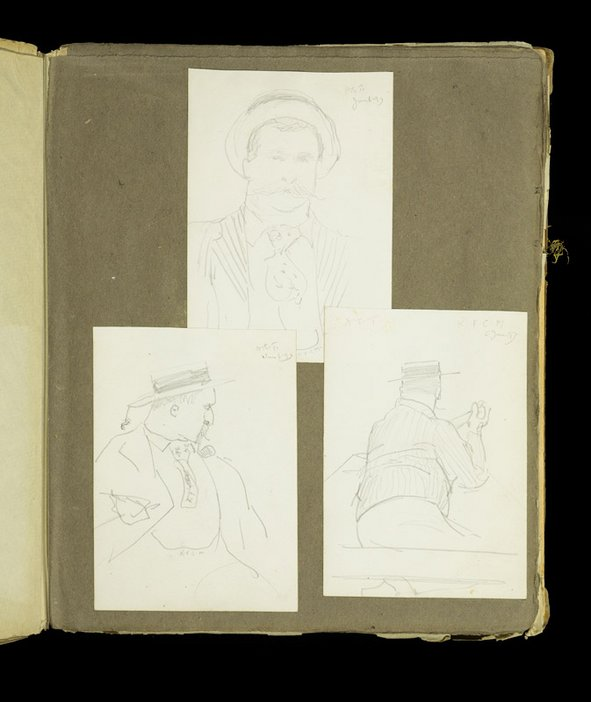 Three sketches of male figures from the scrapbook of Thomas Cooper Gotch and Henry Scott Tuke