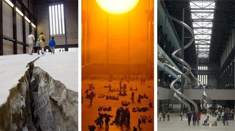 Doris Salcedo's Shibboleth, Olafur Eliasson's The Weather Project and Carsten Holler's Test Site