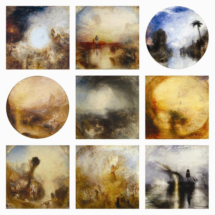 JMW Turner 9 finished square canvases The EY Exhibition: Late Turner - Painting Set Free 10 September 2014 - 25 January 2015 Tat