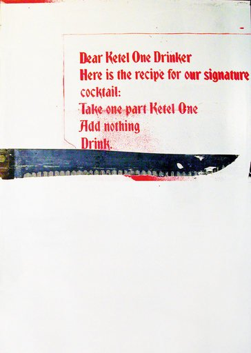 Wade Guyton and Kelley Walker Untitled from the series Guyton Walker Empire Strikes Back 2006 image of a knife with the recipe for a Ketel One cocktail on a white background