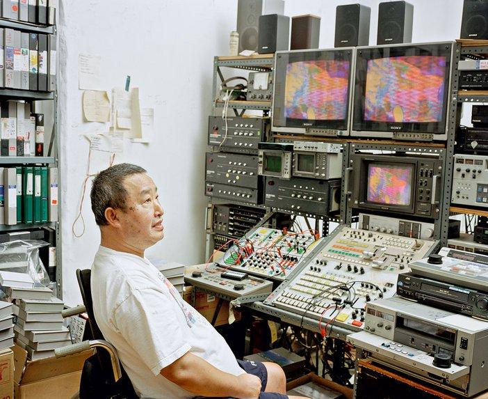Nam June Paik in his New York studio, photographed by David Heald, 1999