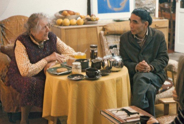 Winifred Nicholson and Li Yuan-chia drinking tea at Nicholson's home in Brampton, Cumbria, 1975