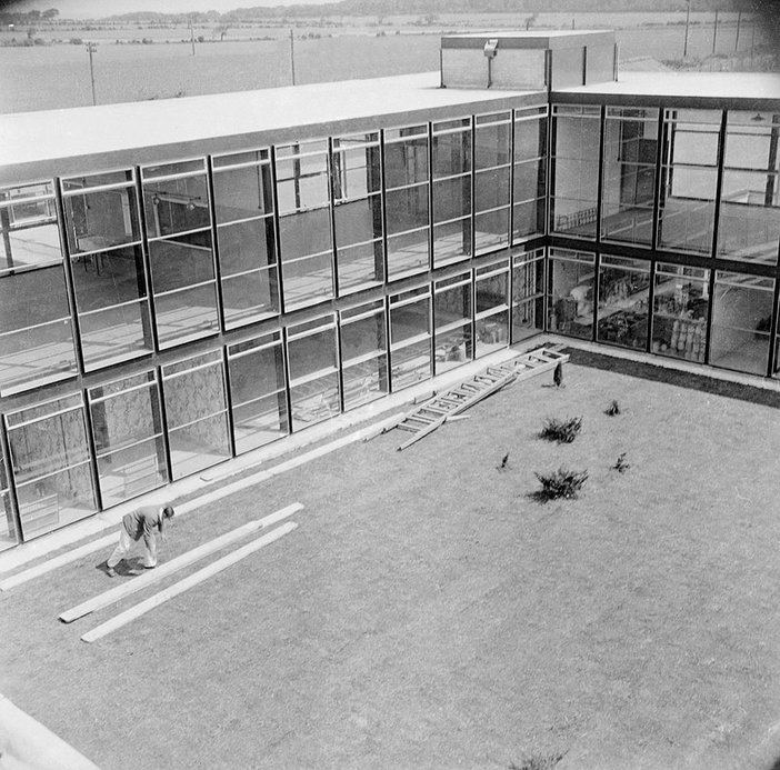 Hunstanton School, designed by Alison and Peter Smithson and Ronald Jenkins, photographed by Nigel Henderson.