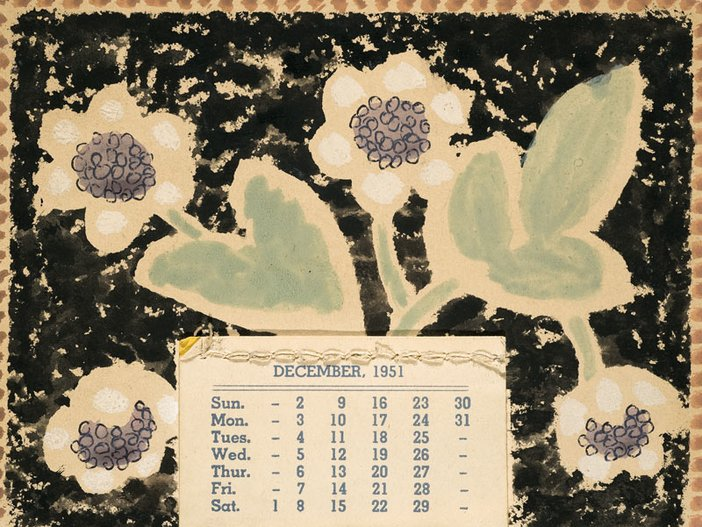 Vanessa Bell Hand-painted calendar done as Christmas gifts for friends 1951 two