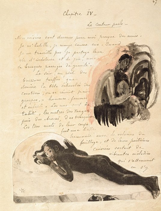 Page from Chapter IV of Paul Gauguins Noa Noa Voyage a Tahiti Prints photograph pen and ink and watercolour illustrations
