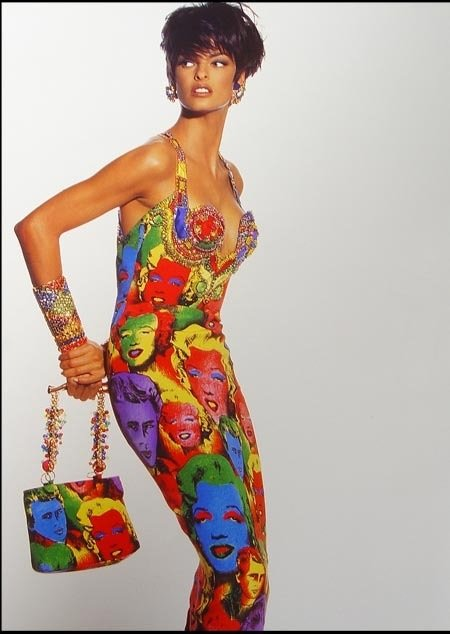 Supermodel Linda Evangelista in the Andy Warhol inspired 'Marilyn' dress by Gianni Versace, photographed by Irving Penn in 1991