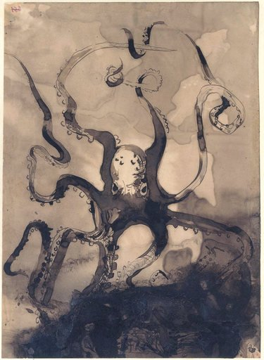 Victor Hugo Octopus with the initials VH 1866 drawing of an octopus with tenticles swirling across the whole page