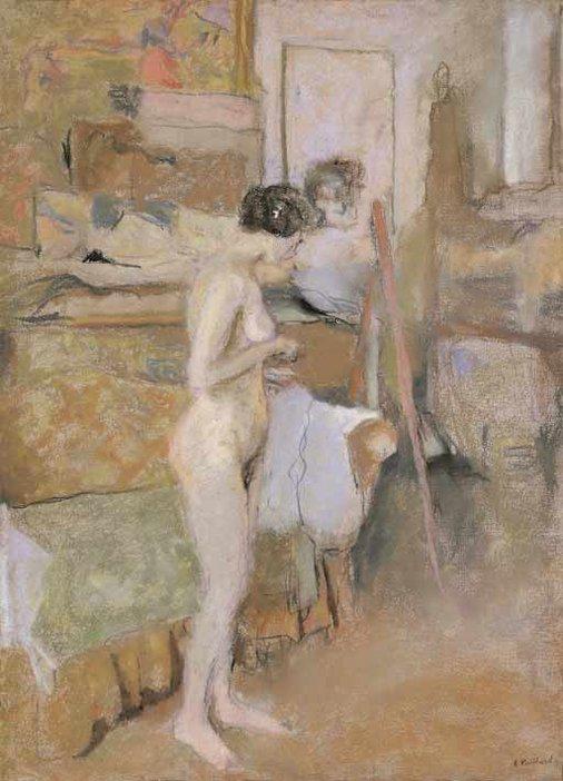 Edouard Vuillard A Nude in the Studio around 1909-11 Pastel on paper mounted on canvas