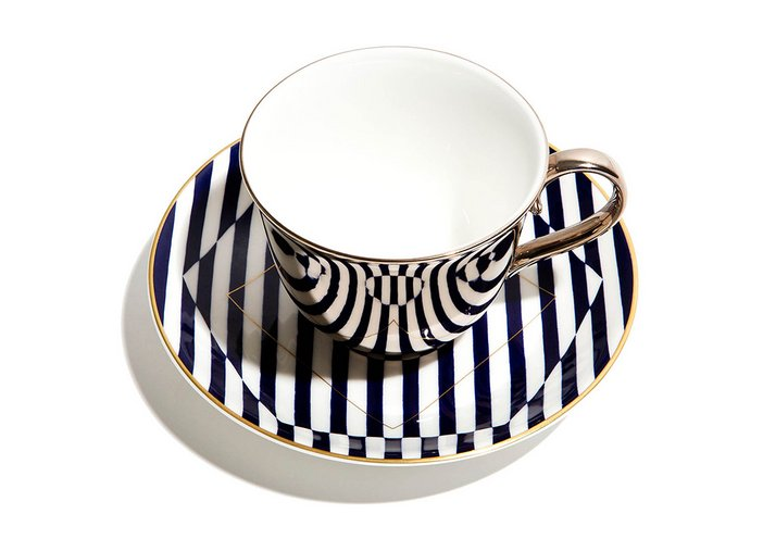 Patternity Warp and Reason cup and saucer collaboration with Richard Brendon