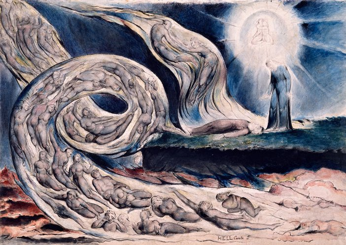 William Blake The Circle of the Lustful: Francesca da Rimini (The Whirlwind of Lovers) 1824–7