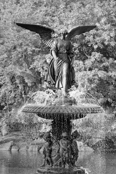 Angel of the Waters fountain on the Bethesda Terrace in Central Park New York, designed by Emma Stebbins in 1868 Photograph Winston Davidian