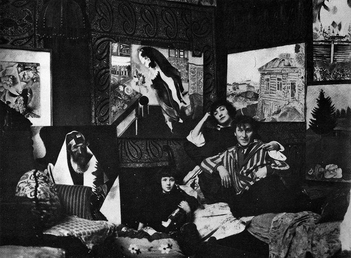 Marc Chagall and his family photographed by Therese Bonney in his studio on Avenue d'Orleans, Paris, c.1923