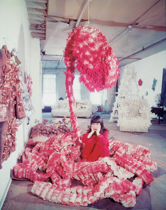 Yayoi Kusama lying on the base of My Flower Bed (1962) in New York, c. 1965