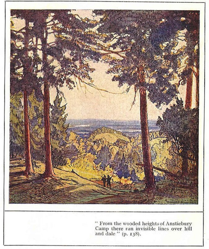 'From the wooded heights of Anstiebury Camp there run invisible lines over hill and dale' Frontispiece of Donald Maxwell, A Detective in Surrey, 1932