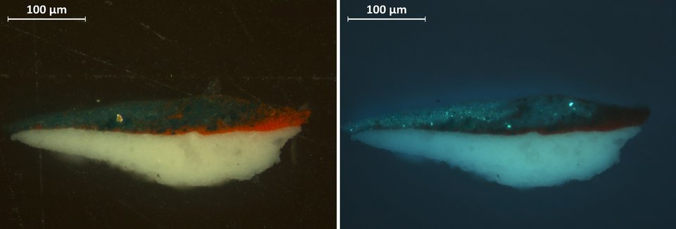 Cross-section showing red and green paint from the darker beads in visible light (vis) and ultraviolet light (uv)
