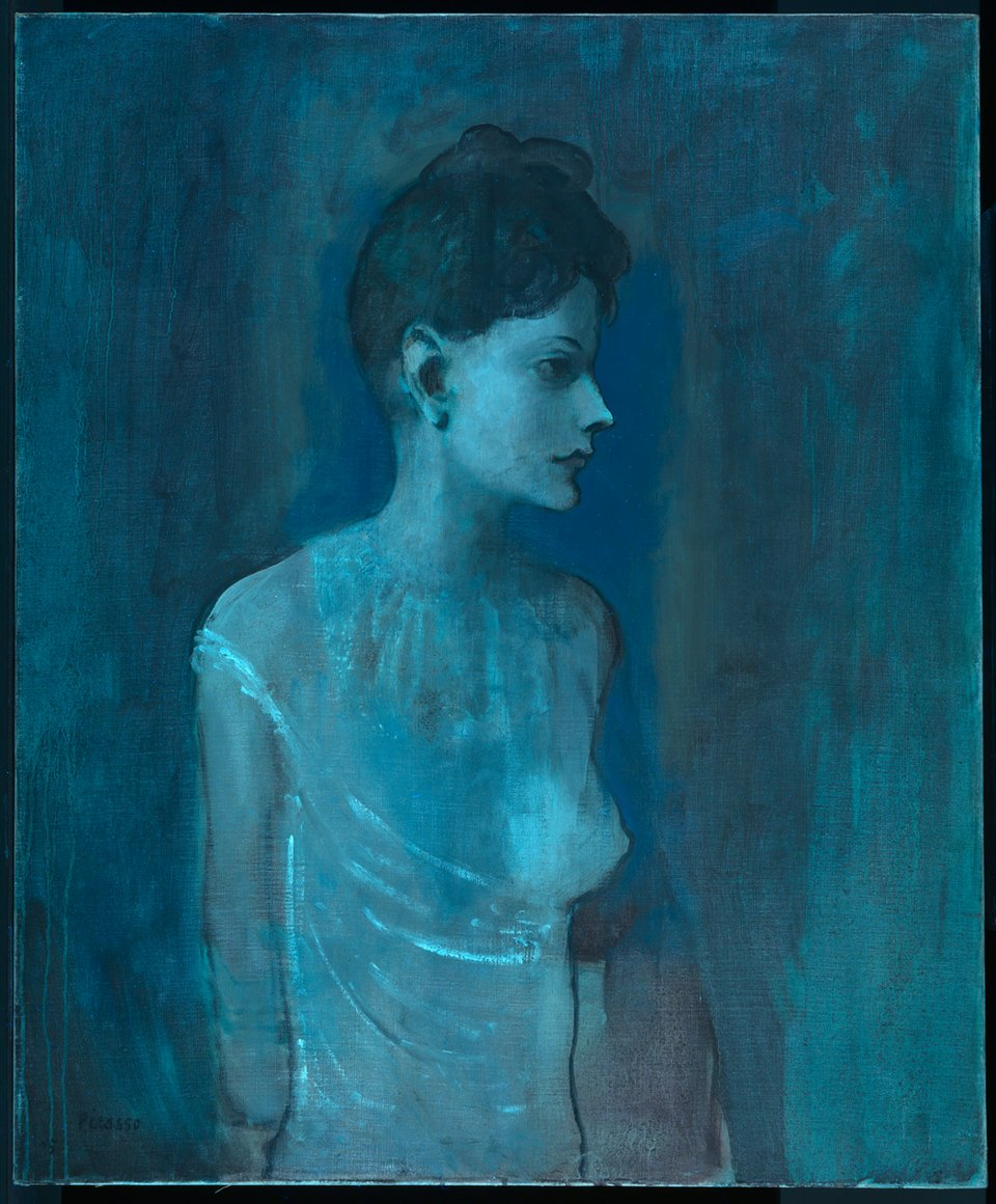 Girl in a Chemise c.1905 under ultraviolet (UV) light
