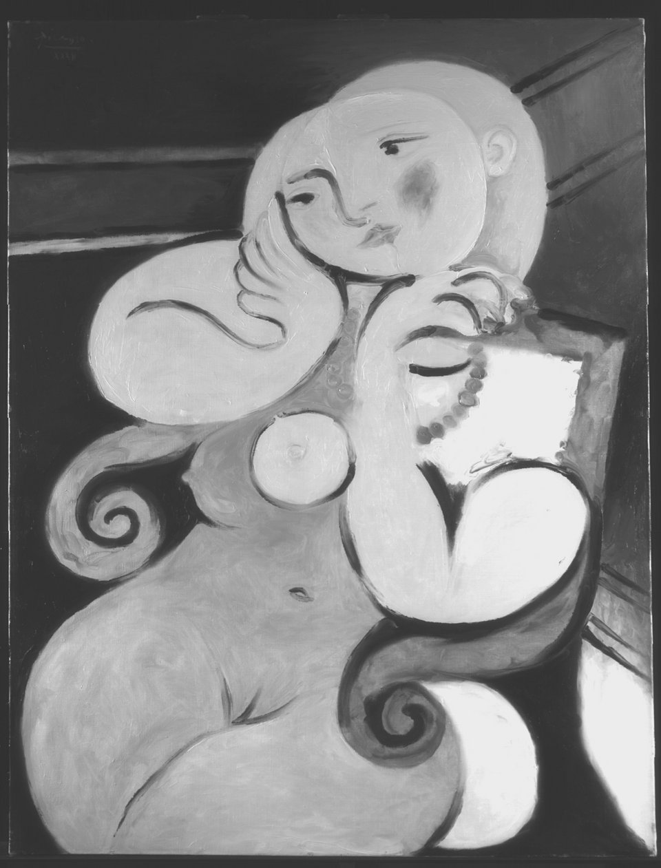 Infrared reflectogram of Nude Woman in a Red Armchair 1932 (1100–1700nm)