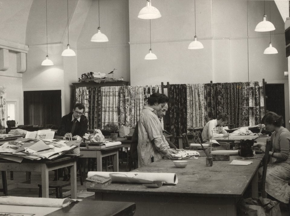 Anton Ehrenzweig teaching in the textiles studio, Central School of Arts and Crafts, London, c.1951