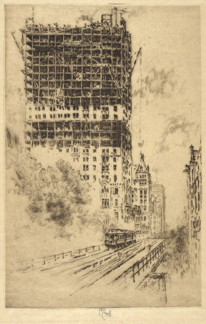 Joseph Pennell, The 'L' and the Trinity Building 1904