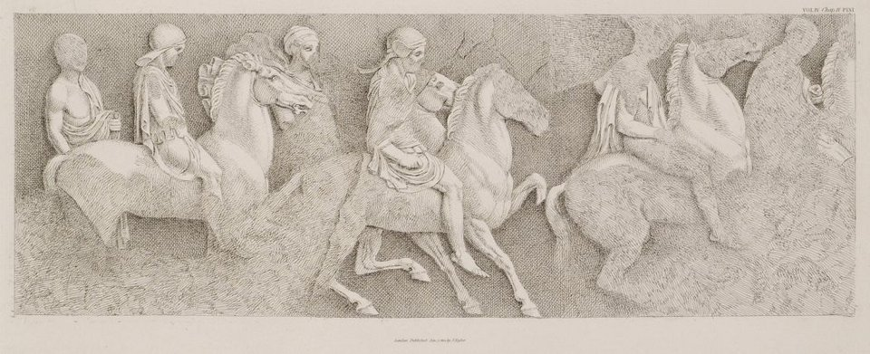 After William Pars, The South Frieze of the Parthenon, engraved by Thomas Stothard, published 1816