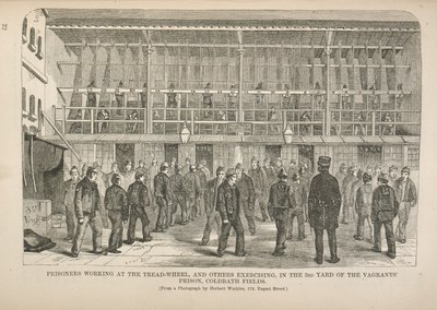 'Prisoners Working at the Tread-Wheel, and Others Exercising, in the 3rd Yard of the Vagrants' Prison, Coldbath Fields' engraved from a photograph by Herbert Watkins
